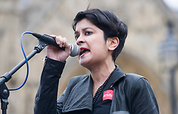 Shami Chakrabarti joins Hundreds of Lawyers,Solicitors and legal workers whilst bringing the legal system to a halt descend on Parliament to protest against legal aid cuts. London, United Kingdom. Friday, 7th March 2014. Picture by  i-Images / i-Images