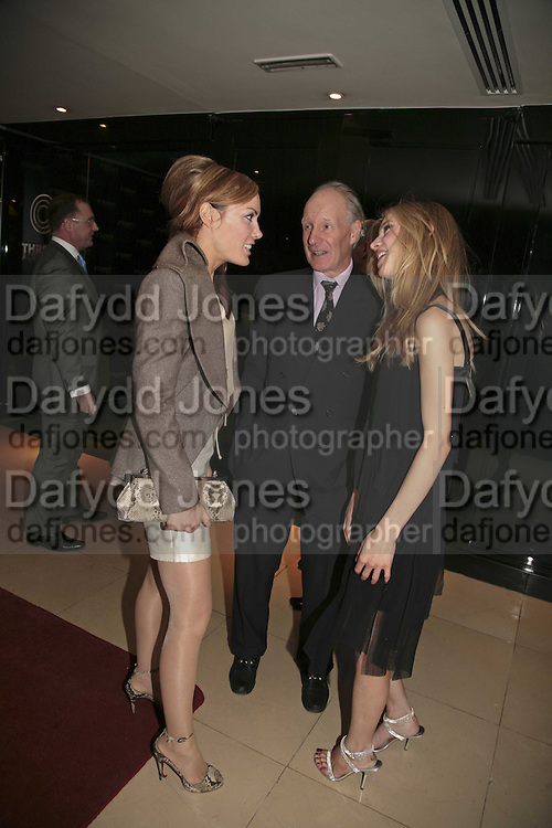 TARA PALMER-TOMPKINSON, CHARLES PALMER-TOMPKINSON AND JESSICA WELLS, THREE'S A CROWD EVENTS LAUNCHES, THE MAYFAIR HOTEL BAR, STATTON ST. LONDON.<br />