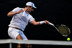 August 21, 2018 - Winston-Salem, NC, U.S. - WINSTON-SALEM, NC - AUGUST 21:  Horacio Zeballos (ARG) hits a volley against Peter Gojowczyk (GER) during the Winston-Salem Open on August 21, 2018 at the Wake Forest Tennis Center in Winston-Salem, North Carolina. (Photo by William Howard/Icon Sportswire) (Credit Image: © William Howard/Icon SMI via ZUMA Press)