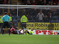 Aberdeen&rsquo;s Andrew Considine completes the scoring and his hat-trick - Dundee v Aberdeen in the Ladbrokes Scottish Premiership at Dens Park, Dundee. Photo: David Young<br /> <br />  - &copy; David Young - www.davidyoungphoto.co.uk - email: davidyoungphoto@gmail.com