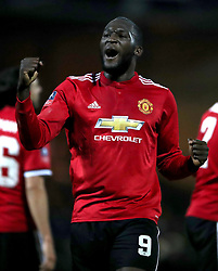 Manchester United's Romelu Lukaku celebrates scoring his side's fourth goal of the game during the Emirates FA Cup, fourth round match at Huish Park, Yeovil.