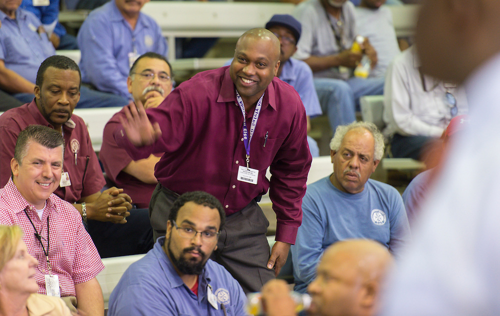 during a Constuction and Facilities Services welcome back event at Barnett Fieldhouse, August 22, 2014.