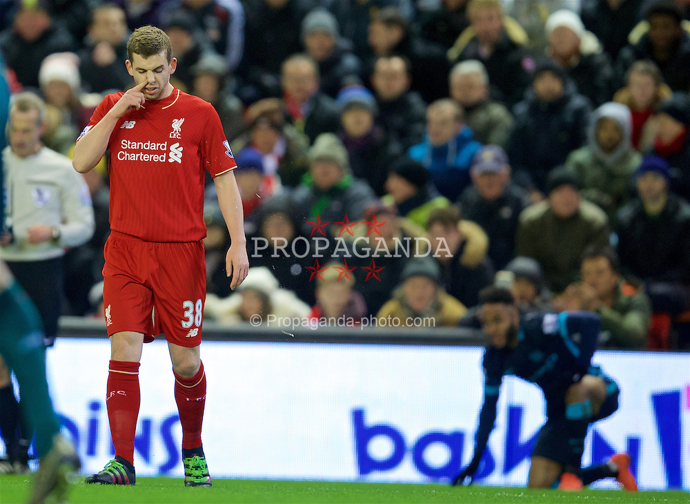 LIVERPOOL, ENGLAND - Wednesday, March 2, 2016: Liverpool's Jon Flanagan in action against Manchester City during the Premier League match at Anfield. (Pic by David Rawcliffe/Propaganda)