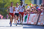 (R) Yared Shegumo from Poland competes in men's marathon during the Sixth Day of the European Athletics Championships Zurich 2014 at Letzigrund Stadium in Zurich, Switzerland.<br /> <br /> Switzerland, Zurich, August 17, 2014<br /> <br /> Picture also available in RAW (NEF) or TIFF format on special request.<br /> <br /> For editorial use only. Any commercial or promotional use requires permission.<br /> <br /> Photo by © Adam Nurkiewicz / Mediasport