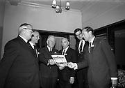 12/11/1964<br /> 11/12/1964<br /> 12 November 1964<br /> <br /> Mr. A.H. Masser, Managing Director Messrs A.H. Masser Ltd.; Mr. P.M. McGloughlin, J.&C. McGloughlin Ltd., Sir Hugh Monony consulting engineer; Mr. W.H.P Cobbe, A.H. Masser Ltd; Mr K.A. Masser Director Messrs A.H. Masser Ltd and Mr. John Strafford, Sales Manager Polypenco of Herts England chatting prior to the film show