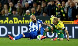 Alex Pritchard of Norwich City tackles Bruno Saltor of Brighton & Hove Albion - Mandatory by-line: Robbie Stephenson/JMP - 21/04/2017 - FOOTBALL - Carrow Road - Norwich, England - Norwich City v Brighton and Hove Albion - Sky Bet Championship