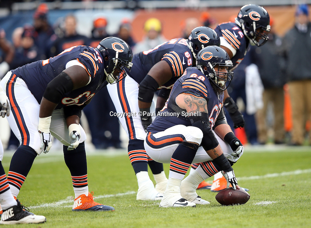 Chicago Bears guard Matt Slauson (68) gets set to snap the ball at the line of scrimmage during the NFL week 17 regular season football game against the Detroit Lions on Sunday, Jan. 3, 2016 in Chicago. The Lions won the game 24-20. (©Paul Anthony Spinelli)