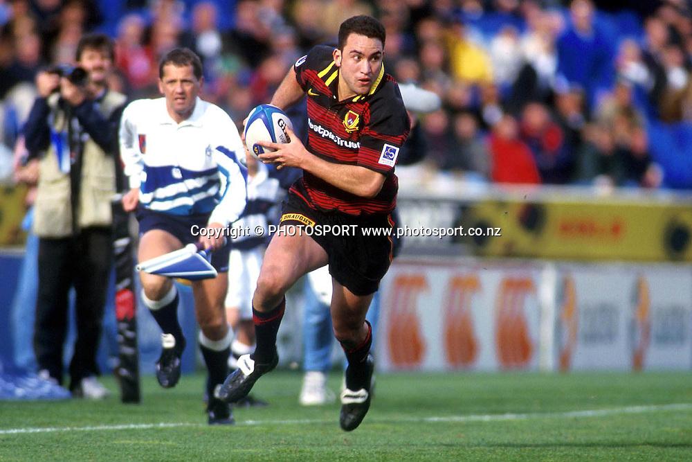 James Kerr running in space, Canterbury RFU, Air NZ Cup NPC Rugby Union. 1998. Photo: Scott Barbour/PHOTOSPORT