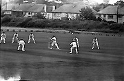 Ireland v. Leicester, Cricket at Sydney Parade..1963..07.07.1963..7th July 1963.  .Today Ireland played Leicester at cricket in the Pembroke Cricket Club grounds at Sydney Parade, Ballsbridge ,Dublin...Stanley Bergin is pictured looking on apprehensively as his strike flies towards a leicester fielder.