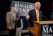 HARTFORD, CT - 02 NOVEMBER 2010 -.Kevin Lembo speaks after winning the race for Comptroller at the Society Room in Hartford on Tuesday night. Behind Lembo are his partner Charles and their son Jordan..Photo by Josalee Thrift