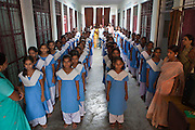 The school girls at the Kasturba Gandhi Balika Vidayala School in Gorakhpur, India. These girls wouldn't normally be able to go to school and are funded by Manav Seva Sansthan, MSS organisation. The non-profit organization pay for their rent, food and clothes as part of their anti trafficking project.