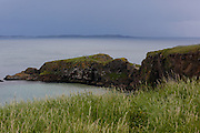 Carickarede Island is seen from the trail leading to the rope bridge in Ballintoy, County Antrim, Northern Ireland on Saturday, June 22nd 2013. (Photo by Brian Garfinkel)