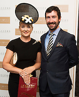 30/07/2015 report free :  Deirdre Travers from Enniskerry originally from Abbeyknockmoy runner up with John Faller Faller's Jewellers at the 4 star Hotel Meyrick's Most Stylish Lady competition, and John Faller Faller's  for Ladies Day Galway Race week 2015, Judges were by leading Irish Model Rozanna Purcell,  Mandy Maher Catwalk Models and Mary Lee , Model The winners received an amazing €2,000 prize package from Fallers of Galway . Photo:Andrew Downes, xposure