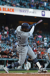 SAN FRANCISCO, CA - JUNE 12: Franmil Reyes #32 of the San Diego Padres at bat against the San Francisco Giants during the first inning at Oracle Park on June 12, 2019 in San Francisco, California. The San Francisco Giants defeated the San Diego Padres 4-2. (Photo by Jason O. Watson/Getty Images) *** Local Caption *** Franmil Reyes