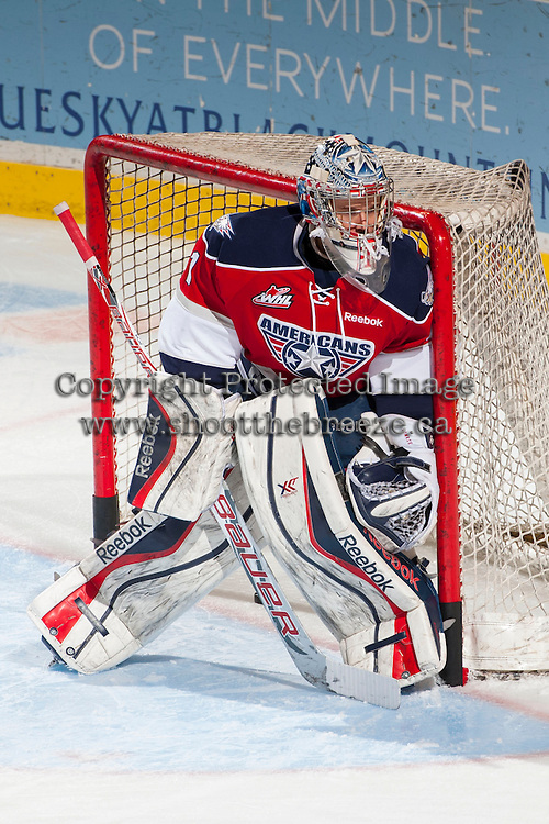 KELOWNA, CANADA - MARCH 8: Eric Comrie #1 of the Tri-City Americans warms up against the Kelowna Rockets on March 8, 2014 at Prospera Place in Kelowna, British Columbia, Canada.   (Photo by Marissa Baecker/Getty Images)  *** Local Caption *** Eric Comrie;