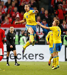 11.10.2013, Friends Arena, Stockholm, SWE, FIFA WM Qualifikation, Schweden vs Oesterreich, Gruppe C, im Bild Torjubel Schweden nach dem 2:1 Siegtreffer durch Zlatan Ibrahimovic // during the FIFA World Cup Qualifier Group C Match between Sweden and Austria at the Friends Arena, Stockholm, Sweden on 2013/10/11. EXPA Pictures © 2013, PhotoCredit: EXPA/ PicAgency Skycam/ Sami Grahn<br /> <br /> ***** ATTENTION - OUT OF SWE *****