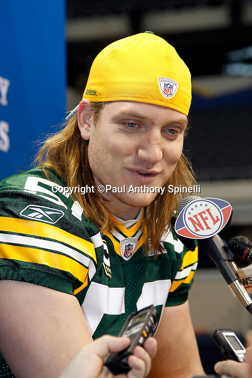 Green Bay Packers linebacker A.J. Hawk (50) speaks to the press at Super Bowl XLV media day prior to NFL Super Bowl XLV against the Pittsburgh Steelers. Media day was held on Tuesday, February 1, 2011 in Arlington, Texas. ©Paul Anthony Spinelli