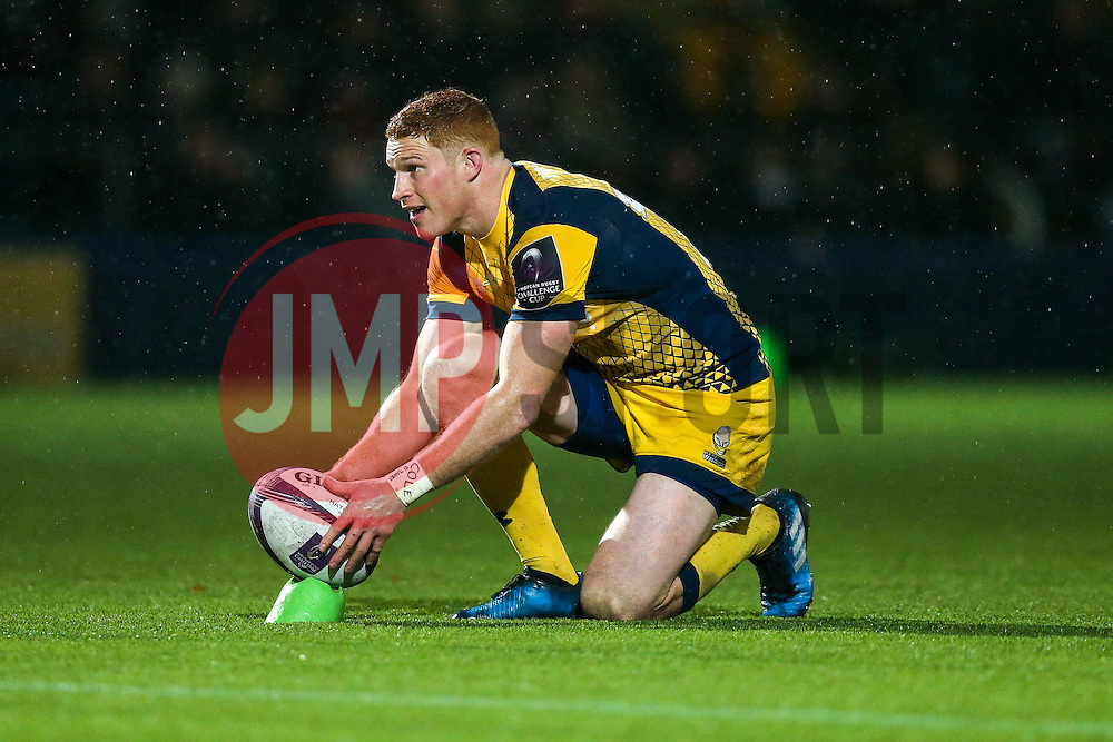 Connor Braid of Worcester Warriors kicks a conversion - Rogan Thomson/JMP - 10/12/2016 - RUGBY UNION - Sixways Stadium - Worcester, England - Worcester Warriors v Newport Gwent Dragons - European Rugby Challenge Cup.