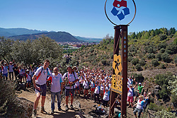 04-09-2019 ESP: WeHike2ChangeDiabetes - Senda de Bas day 4, Ponferrada<br /> A special day at the WeHike2ChangeDiabetes. The Senda de Bas path will be inaugurated today, coinciding with the athlete's birthday, by the statue and nice rock gravity that gets the path. Bas van de Goor at the Senda de Bas Statue<br />