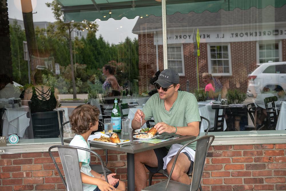 Eating Lopster Roll, Noah's Restaurant, New American, Greenport, NY