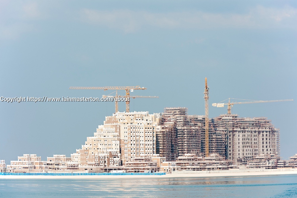 Construction of new apartment building in Palm Jumeirah in Dubai in United Arab Emirates