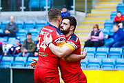 London Broncos winger Rhys Williams (2) scores a try  during the Betfred Championship match between Halifax RLFC and London Broncos at the MBi Shay Stadium, Halifax, United Kingdom on 8 April 2018. Picture by Simon Davies.