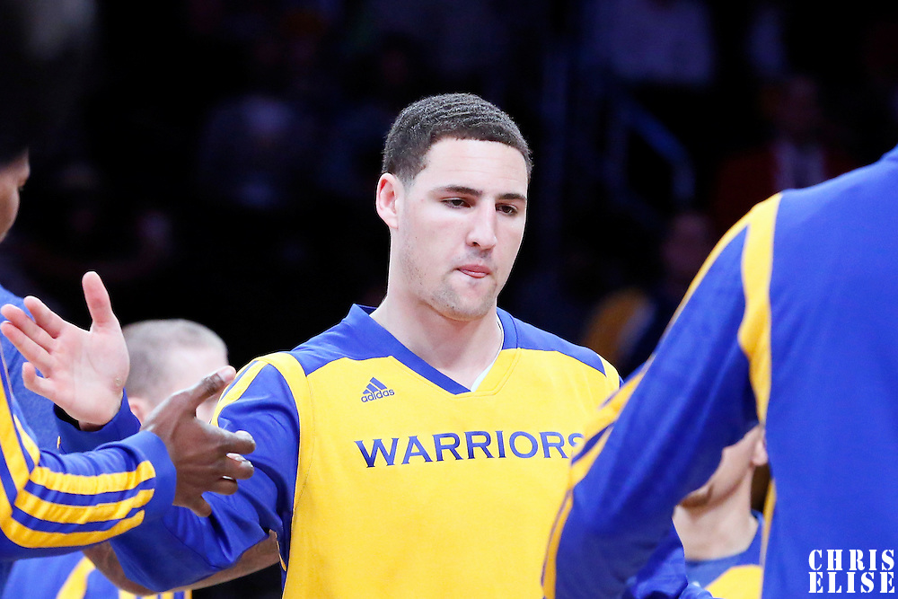 11 April 2014: Golden State Warriors guard Klay Thompson (11) is seen during the players introduction prior to the Golden State Warriors 112-95 victory over the Los Angeles Lakers at the Staples Center, Los Angeles, California, USA.