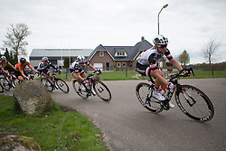 Juliette Labous (FRA) of Team Sunweb leans into a corner during the last lap of Stage 4 of the Healthy Ageing Tour - a 126.6 km road race, starting and finishing in Finsterwolde on April 8, 2017, in Groeningen, Netherlands.