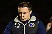 Shrewsbury Town manager Paul Hurst  during the EFL Sky Bet League 1 match between Northampton Town and Shrewsbury Town at Sixfields Stadium, Northampton, England on 20 March 2018. Picture by Dennis Goodwin.