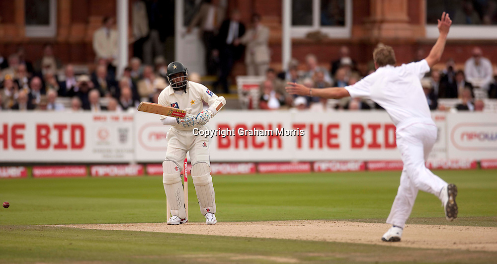 Mohammad Yousuf is bowled by Stuart Broad during the final npower Test Match between England and Pakistan at Lord's.  Photo: Graham Morris (Tel: +44(0)20 8969 4192 Email: sales@cricketpix.com) 28/08/10