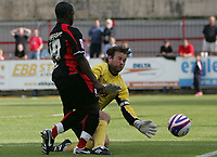 Photo: Lee Earle/Richard Lane Photography. <br /> Aldershot Town v AFC Bournemouth. Coca Cola League 2. 16/08/2008.    Aldershot keeper Niki Bull (R) saves from Jo Kuffour.