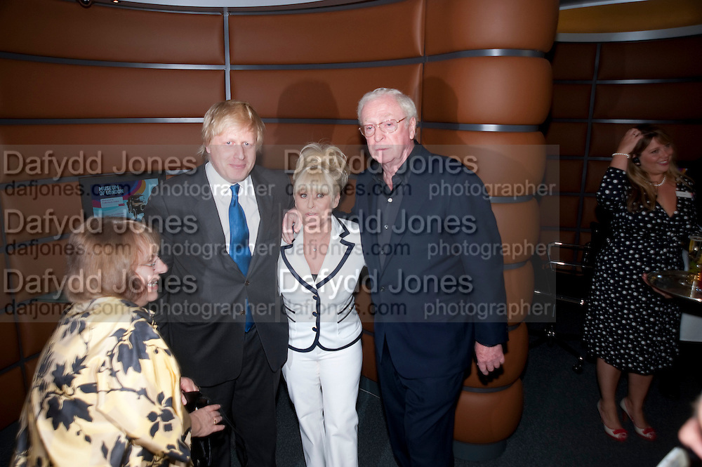 Boris Johnson; Barbara Windsor; Sir Michael Caine  attend The Galleries of Modern London launch party at the Museum of London on May 27, 2010 in London. <br /> -DO NOT ARCHIVE-© Copyright Photograph by Dafydd Jones. 248 Clapham Rd. London SW9 0PZ. Tel 0207 820 0771. www.dafjones.com.