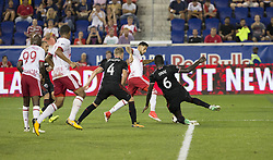 September 27, 2017 - Harrison, New Jersey, United States - Gonzalo Veron (30) of Red Bulls controls ball during regular MLS game against DC United at Red Bull Arena Game ended in draw 3 - 3  (Credit Image: © Lev Radin/Pacific Press via ZUMA Wire)
