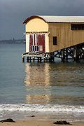 shed on Queenscliff Pier with reflection in the water