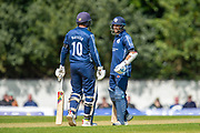 Scotland captain, Kyle Coetzer discusses tactics with Calum MacLeod (#10) during the One Day International match between Scotland and Afghanistan at The Grange Cricket Club, Edinburgh, Scotland on 10 May 2019.