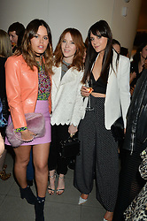Left to right, ATLANTA DE CADENET TAYLOR, ANGELA SCANLON and LILAH PARSONS at the Future Contemporaries Party in association with Coach at The Serpentine Sackler Gallery, West Carriage Drive, Kensington Gardens, London on 21st February 2015.