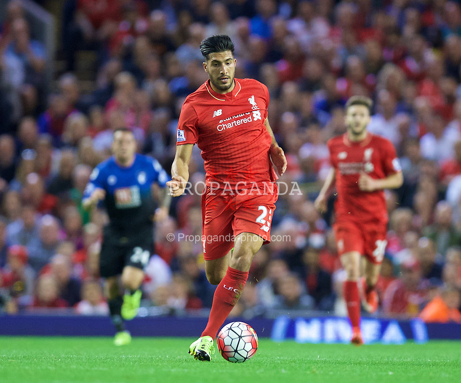 LIVERPOOL, ENGLAND - Monday, August 17, 2015: Liverpool's Emre Can in action against AFC Bournemouth during the Premier League match at Anfield. (Pic by David Rawcliffe/Propaganda)