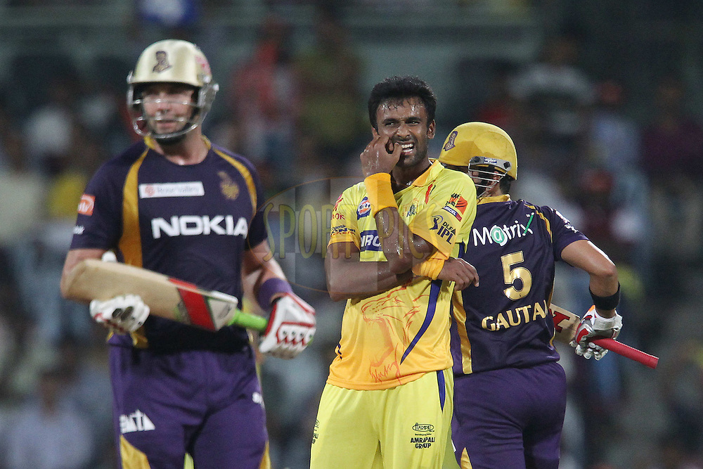 Vijaykumar Yo Mahesh looks on as Gautam Gambhir and Jacques Kallis make the runs during match 41 of the the Indian Premier League ( IPL) 2012  between The Chennai Superkings and the Kolkata Knight Riders held at the M. A. Chidambaram Stadium, Chennai on the 30th April 2012..Photo by Ron Gaunt/IPL/SPORTZPICS