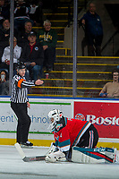 KELOWNA, CANADA - NOVEMBER 14: Referee Ward Pateman calls a goal against James Porter #1 of the Kelowna Rockets by the Edmonton Oil Kings on November 14, 2017 at Prospera Place in Kelowna, British Columbia, Canada.  (Photo by Marissa Baecker/Shoot the Breeze)  *** Local Caption ***