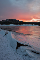 """Frozen Boca Reservoir Sunset 1"" - Photograph of a sunset and broken ice at frozen over Boca Reservoir, near Truckee, CA."