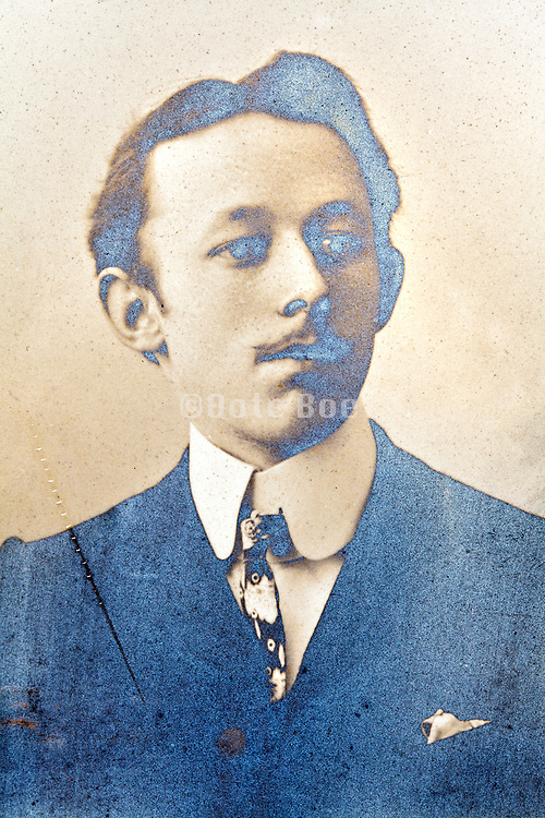 silver mirroring vintage photo portrait of an adult man