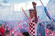 Afternoon of the World Cup Final 15 July 2018, Croatia vs France. A huge crowd gathers on the main square, Trg Bana Jelačića (Ban Jelačić Square), to watch the game on a big screen. Zagreb, Croatia © Rudolf Abraham