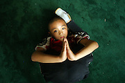 Shao Lin in a kung fu pose. The boy was named Shao Lin after the famous monastery.