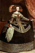 Mariana of Austria (1634-1696) second wife of Philip IV of Spain. Portrait by Diego Velasquez (1599-1660) Spanish painter. Fashion
