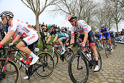 The peloton including Alexander Kristoff (NOR) UAE Team Emirates on the Padderstraat during the 2019 Ronde Van Vlaanderen 270km from Antwerp to Oudenaarde, Belgium. 7th April 2019.<br /> Picture: Eoin Clarke | Cyclefile<br /> <br /> All photos usage must carry mandatory copyright credit (© Cyclefile | Eoin Clarke)