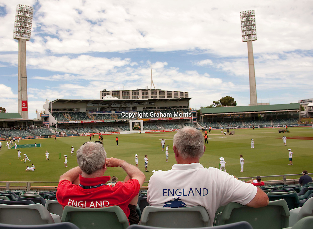 Two England supporters stay on to watch the children's cricket after losing the third Ashes test match against Australia at the WACA (West Australian Cricket Association) ground in Perth, Australia. Photo: Graham Morris (Tel: +44(0)20 8969 4192 Email: sales@cricketpix.com) 19/12/10