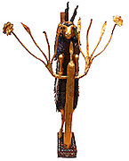 Ram in a Thicket. This statue is traditionally known as the Ram in a Ticket, is more accurately described as a goat, It stands with its forelegs on the branches of a flowering plant, as goats do when looking for food. This was one of a pair, found at Ur in grave. About 2500 BC (Early Dynastic III)