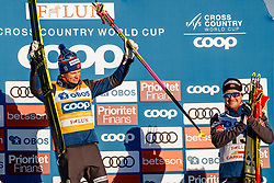 March 16, 2019 - Falun, SWEDEN - 190316   Johannes Høsflot Klæbo and Sindre Bjørnestad Skar of Norway celebrates on the podium after the Men's cross-country skiing sprint final during the FIS Cross-Country World Cup on march 16, 2019 in Falun  (Credit Image: © Daniel Eriksson/Bildbyran via ZUMA Press)