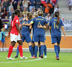 18.07.2013, Arena Linkoeping, Linkoeping, UEFA Damen Euro, Frankreich vs England, im Bild France 9 Eug?nie Le Sommer, Keywords: jubel gl&Scaron;dje lycka glad happy happiness // during UEFA Womens Euro Match between Franc and England at Arena Linkoeping, Sweden on 2013/07/18. EXPA Pictures &copy; 2013, PhotoCredit: EXPA/ PicAgency Skycam/ Ted Malm<br /> <br /> ***** ATTENTION - OUT OF SWE *****