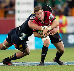 Crusaders' Mitchell Hunt takes the ball into the tackle against the Highlanders in the Super Rugby match, Forsyth Barr Stadium, Dunedin, New Zealand, Saturday, March 17, 2018. Credit:SNPA / Adam Binns ** NO ARCHIVING**